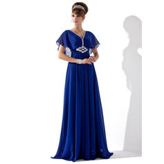 Chiffon Short Sleeves A-Line/Princess Evening Dresses Floor-Length