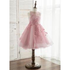 Vestidos princesa/ Formato A Comprimento médio Vestidos de Menina das Flores - Tule/Renda Sem magas Decote redondo com fecho de correr (010164708)