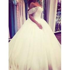 2019 New Sweep Train Sleeveless Tulle Wedding Dresses