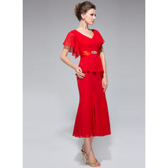Corte trompeta/sirena Escote en V Gasa Sencillo Vestidos de madrina (008211508)