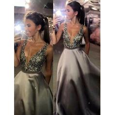 A-Line/Princess Satin Prom Dresses Beading Sequins V-neck Sleeveless Sweep Train