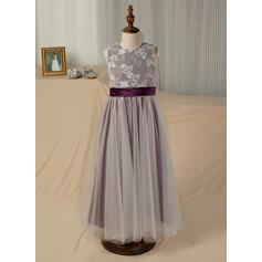 Forme Princesse Longueur cheville Robes à Fleurs pour Filles - Satiné/Tulle Sans manches Col rond avec Ceintures (bande détachable) (010130875)
