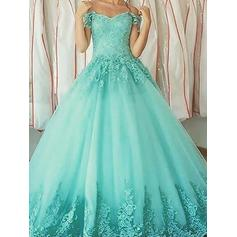Ball-Gown Tulle Prom Dresses Magnificent Floor-Length Off-the-Shoulder Sleeveless (018210218)
