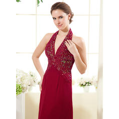Vestidos princesa/ Formato A Tecido de seda Sem magas Cabresto Longuete Zipper nas costas Vestidos para a mãe da noiva (008213135)