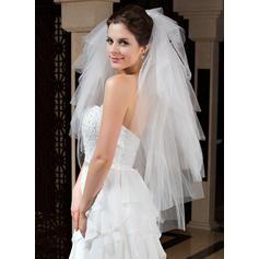 Fingerspitze Braut Schleier Tüll Sechsschichtig Klassische Art mit Schnittkante Brautschleier