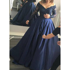 A-Line/Princess V-neck Sweep Train Satin Prom Dresses