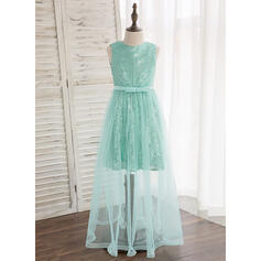 A-Line/Princess Floor-length Flower Girl Dress - Tulle/Sequined Sleeveless Scoop Neck With Bow(s) (010148803)