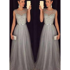 A-Line/Princess Scoop Neck Sweep Train Evening Dresses With Sash Beading