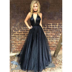 A-Line/Princess V-neck Floor-Length Prom Dresses (018219257)