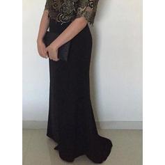 Vestidos princesa/ Formato A Decote redondo Tecido de seda Simples Vestidos para a mãe da noiva (008212811)
