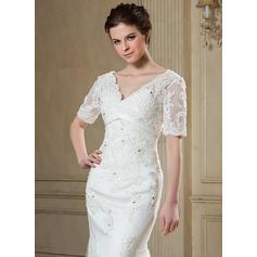 vestidos de novia con mangas de longitud de té