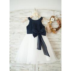 Vestidos princesa/ Formato A Coquetel Vestidos de Menina das Flores - Tecido de seda/Tule Sem magas Decote redondo (010122614)
