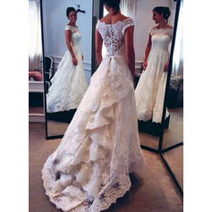Sweep Train Cascading Ruffles Off-The-Shoulder With Lace Wedding Dresses