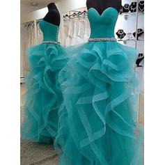 Ball-Gown Organza Sweetheart Strapless Prom Dresses