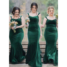 Velvet Sleeveless Sheath/Column Bridesmaid Dresses Square Neckline Sweep Train