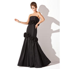 Trumpet/Mermaid Strapless Floor-Length Evening Dresses With Flower(s) (017002572)