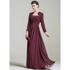 Corte A/Princesa Gasa Sin mangas Novio Hasta el suelo Cremallera Vestidos de madrina (008074210)