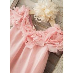 Forme Princesse Longueur genou Robes à Fleurs pour Filles - Mousseline Manches courtes Col rond avec Fleur(s) (010093250)