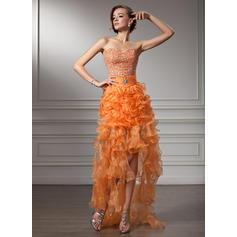 Organdí Halagador Corte A/Princesa Asimétrico Vestidos de baile de promoción (018021106)