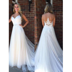 Beautiful Court Train A-Line/Princess Wedding Dresses Sweetheart Tulle Sleeveless