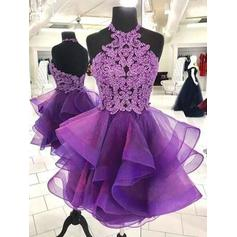 A-Line/Princess Short/Mini Organza Halter Homecoming Dresses (022219309)