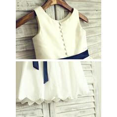 Vestidos princesa/ Formato A Coquetel Vestidos de Menina das Flores - Combinação de algodão Sem magas Decote redondo com Curvado (010105761)