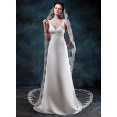 Cathedral Bridal Veils Tulle One-tier Drop Veil/Mantilla With Lace Applique Edge Wedding Veils