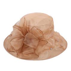Signore Elegante Del organza con Fiore di seta Cappello a bombetta / Cloche/Beach / Sun Cappelli