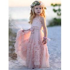 Luxurious Floor-length A-Line/Princess Flower Girl Dresses Square Neckline Chiffon Sleeveless