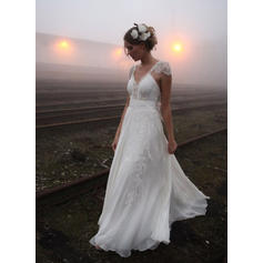 A-Line/Princess Chiffon Sleeveless V-neck Court Train Wedding Dresses (002144853)