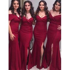 Satin Sleeveless Trumpet/Mermaid Bridesmaid Dresses Off-the-Shoulder Ruffle Split Front Floor-Length