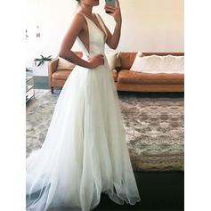 Simple Floor-Length Sweep Train A-Line/Princess Wedding Dresses Deep V Neck Tulle Sleeveless