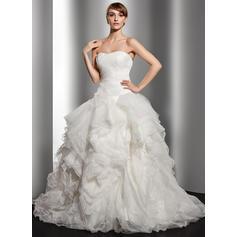 Ball-Gown Sweetheart Court Train Wedding Dresses With Cascading Ruffles