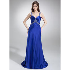 A-Line/Princess Sleeveless Ruffle Beading Charmeuse Prom Dresses