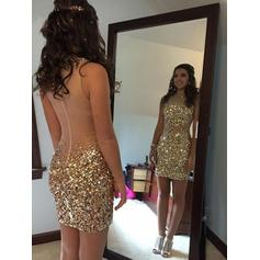 Sheath/Column Scoop Neck Sleeveless Short/Mini Beading Sequins Homecoming Dresses