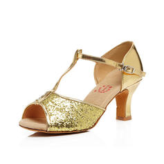 Women's Latin Heels Sandals Leatherette With T-Strap Dance Shoes