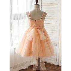 Correas de hombro Corte A/Princesa Vestidos para niña de arras Tul/Con lentejuelas Lentejuelas Sin mangas Hasta la rodilla (010212079)