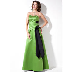 Satin Sleeveless A-Line/Princess Bridesmaid Dresses Sweetheart Ruffle Sash Floor-Length