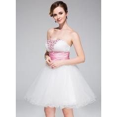 Glamour Tulle Sans manches Amoureux Plissé Ceintures Brodé Robes de soirée étudiante (022214002)