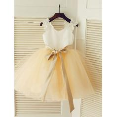 Straps A-Line/Princess Flower Girl Dresses Satin/Tulle Sash Sleeveless Knee-length (010211835)