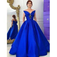 Ball-Gown V-neck Floor-Length Taffeta Prom Dresses With Ruffle Beading (018217329)