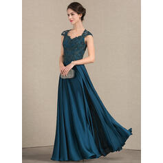 A-Line/Princess Sweetheart Floor-Length Lace Satin Chiffon Mother of the Bride Dress (008143375)