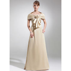 Empire Scoop Neck Satin Sleeveless Floor-Length Lace Mother of the Bride Dresses