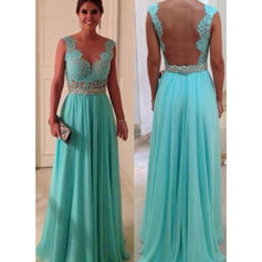 Chiffon Sleeveless A-Line/Princess Prom Dresses Scoop Neck Beading Appliques Lace Floor-Length