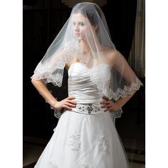 Velos de novia vals Tul Uno capa Mantilla con Con Aplicación de encaje Velos de novia