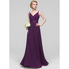 A-Line V-neck Floor-Length Chiffon Prom Dresses With Ruffle (018112690)