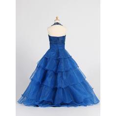 Hasta el suelo Cabestro Organdí Vestidos para niña de arras con Volantes/Lentejuelas/Rhinestone (010007648)