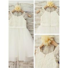 Scoop Neck A-Line/Princess Flower Girl Dresses Tulle/Lace Lace Sleeveless Knee-length