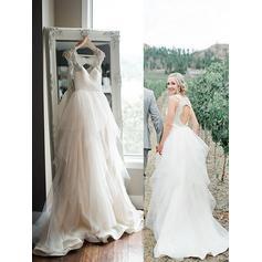 A-linjeformat Älsklingsringning Sweep släp Bröllopsklänningar med Beading Paljetter