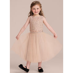 Vestidos princesa/ Formato A Comprimento médio Vestidos de Menina das Flores - Tule/Renda Sem magas Decote redondo (010132384)